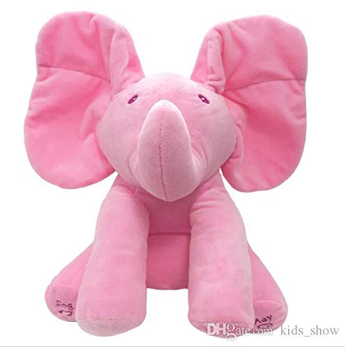 Pink Elephant Busting Baby Products Animated Plush Singing Elephant with Peek-a-Boo Game