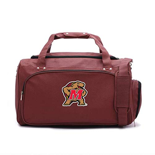 Zumer Sport Maryland Terrapins Football Leather Travel Kit Duffel Gym Bag - Made from Actual Football Materials - Shoulder Strap and Handles - Shoe Compartment - Brown
