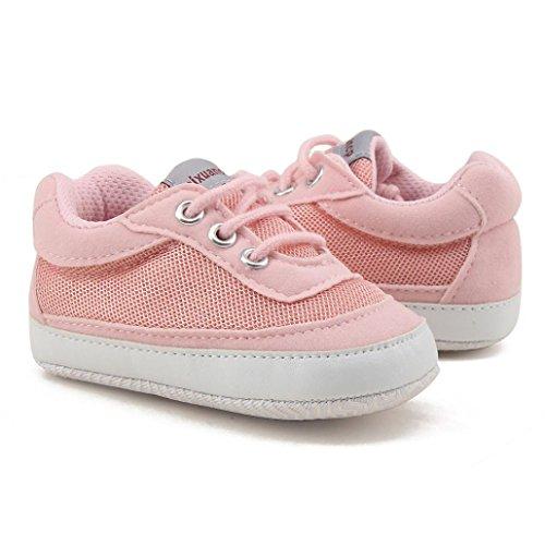 Igemy 1 Paar Kleinkind Mädchen Jungen Lace up Crib Schuhe Prewalker Soft Sohle Sneakers Rosa