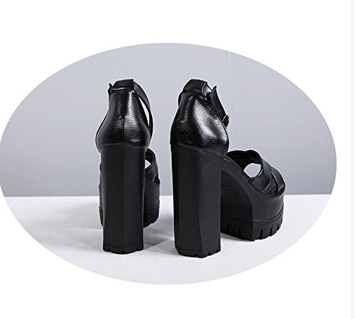 Les Les En Chaussure Talons Hauts De 8 KHSKX Des Seule Thirty Talons Avec Avec Sandales Noire 5Cm seven Talons Été Super Un Mot qYwnFdTx