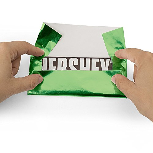 Foil Wrapper (Dull Green) - Pack of 100 Candy Bar Wrappers with Thick Paper Backing - Folds and Wraps Well - Best for Wrapping 1.55Oz Hershey/ Candies/ Chocolate Bars/ Gifts - Size 6