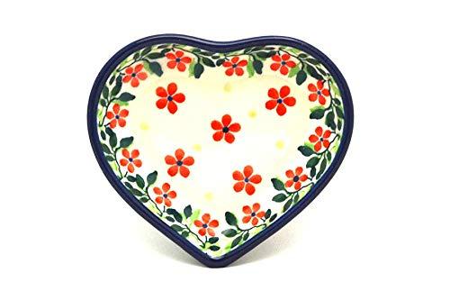 Polish Pottery Tea Bag Holder - Heart - Cherry Jubilee