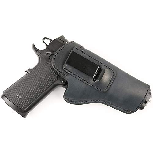 ComfortTac The Protector Leather IWB Holster Fits Most 1911 Style Handguns from Springfield Armory | Kimber | Colt | Smith and Wesson S&W | Sig Sauer | Ruger | Remington and More (Black)