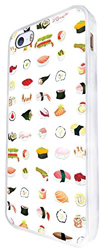 1341 - Cool Fun Trendy Cute Kawaii Japanese Chinese Sushi Salmon Fish Food Take Away Design iphone SE - 2016 Coque Fashion Trend Case Coque Protection Cover plastique et métal - Blanc