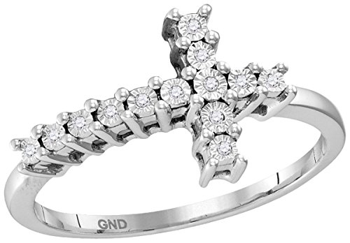 Size 6 - 925 Sterling Silver Round Diamond Christian Cross Cluster Ring 1/20 Cttw by Sonia Jewels