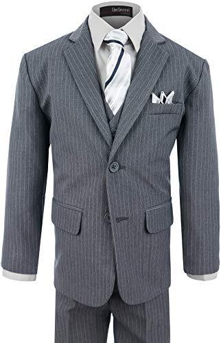 (Boy's Formal Pinstripe Dresswear Suit Set #G220 (14,)