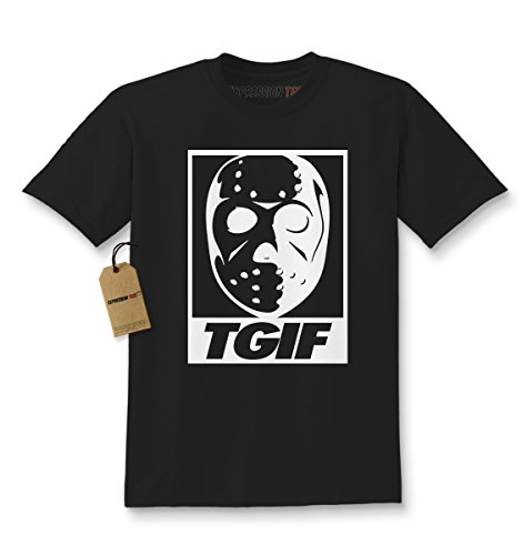 Hockey Crewneck (Expression Tees Kids TGIF Jason Hockey Mask T-Shirt Medium Black)