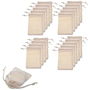 BCP Pack of 20pcs 2.75x4 Inch Double Drawstring Cotton Muslin Bags Reusable Bags Tea Bags Souvenir Gift Bag