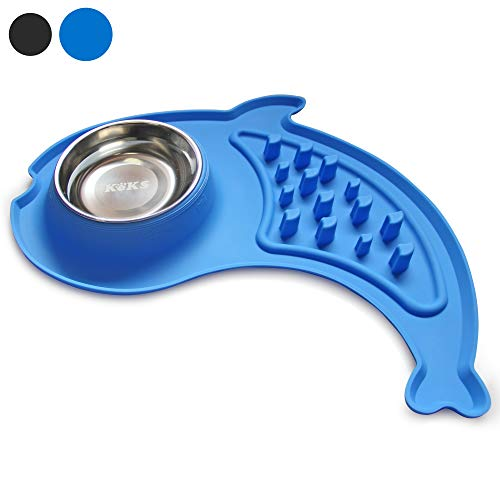 KEKS Dog Bowls Slow Feeder – No Spill Silicone Stand & Stainless Steel Dog Food & Water Feeder Set for Small Dogs Cats…