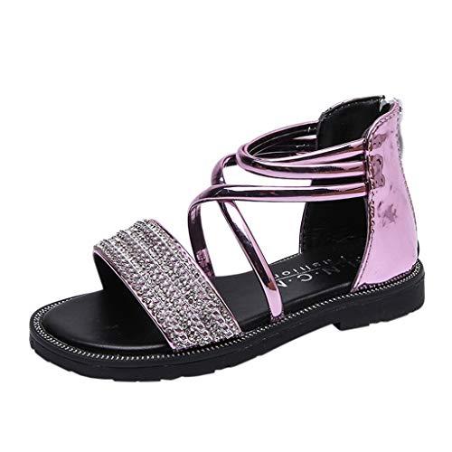 Mysky Fashion Toddler Infant Kids Baby Summer Popular Pure Color Crystal Criss Cross Belt Zipper Sandals Pink