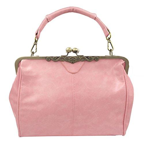 (Donalworld Women Retro Hollow out PU Leather Handbag L Pink)