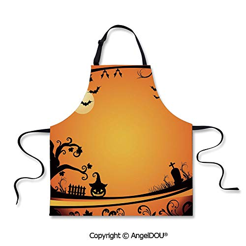 SCOXIXI Adult Kitchen Dinner Party Cooking Apron Halloween Themed Image Eerie Atmosphere Gravestone Evil Pumpkin Moon Decorative for Cooking Baking Gardening.]()