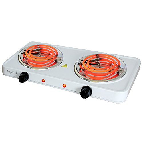 MegaChef Electric Easily Portable Ultra Lightweight Dual Coil Burner Cooktop Buffet Range