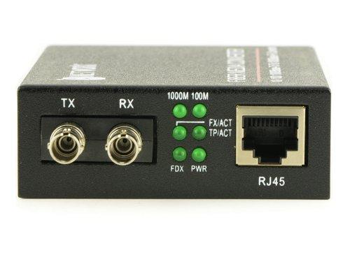 Gigabit Ethernet Fiber Media Converter - UTP to 1000Base-SX - ST Multimode, 550m, 850nm by Networx (Image #1)