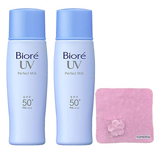 Biore UV Sarasara Perfect Milk 40ml, Sunscreen, SPF50+ PA++++, Latest Package, Set of 2 with YUMERIA Original Sakura Compressed Hand Towel