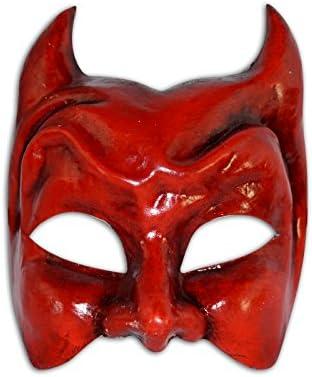 Máscara Veneciana Mitad Diavolo para Hombres (Rojo): Amazon.es: Juguetes y juegos