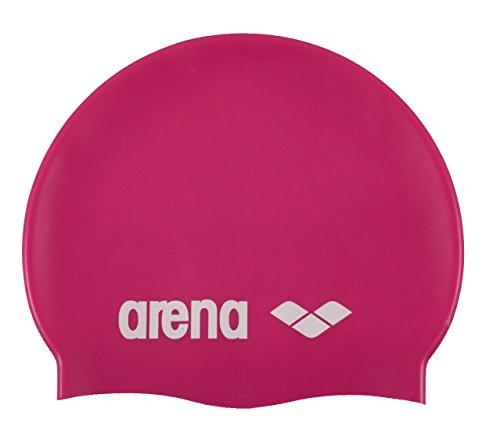 Arena Classic Silicone Swim Cap, Fuchsia/White