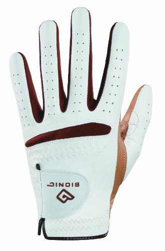 Bionic Women's RelaxGrip Left Hand Golf Glove, White/Caramel, Large