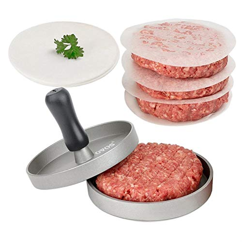 OVOS Aluminum Non-Stick Hamburger Press 50 Free Patty Papers Wood Handle by OVOS