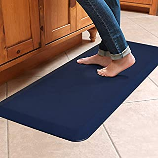 "NewLife by GelPro Anti-Fatigue Designer Comfort Kitchen Floor Mat, 20x48"", Leather Grain Navy Stain Resistant Surface with 3/4"" Thick Ergo-foam Core for Health and Wellness"