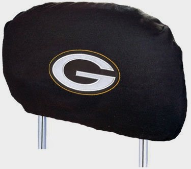 Green Bay Packers NFL Set 2 Car Seat Head Rest Covers New