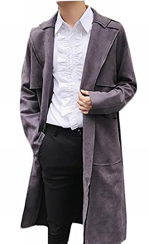 today-UK Mens Suede Long Sleeve Mid-Length Trench Jacket With Belt Grey