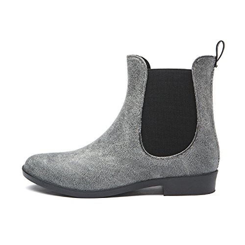 Slip Rain Ankle Anti Booties PVC Ladies Boot KICKIC Short 7 Women's Slip Elastic Rubber Colors Suede Waterproof On Gray PWSJ001 ggxSqzOw