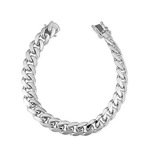 Sterling Silver Italian Solid Miami Cuban Link Chain Bracelet for Men 8.5MM 10.5MM- 925 Sterling Silver Curb Cuban Bracelet For Men, Silver Cuban Link Chain, Mens Silver Bracelet (8, 8.5MM)