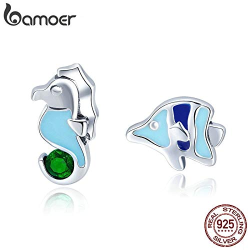 100% 925 Sterling Silver Seahorse And Tropical Fish Color Enamel Stud Earrings For Women Fashion Silver Jewelry SCE433 ()