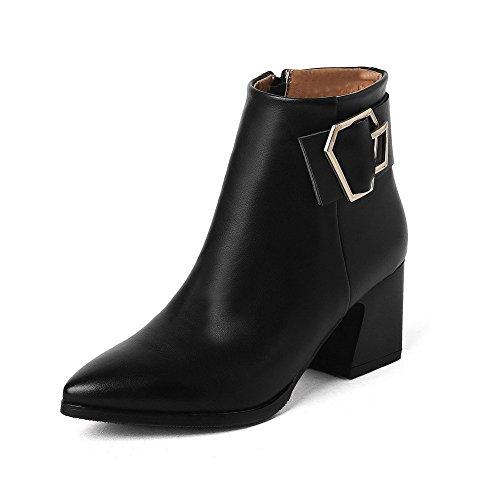 Velardeeee Pumps Women's Pointed Closed Toe Low Top Kitten Heels Solid Pu Boots Black4.5 B(M) -