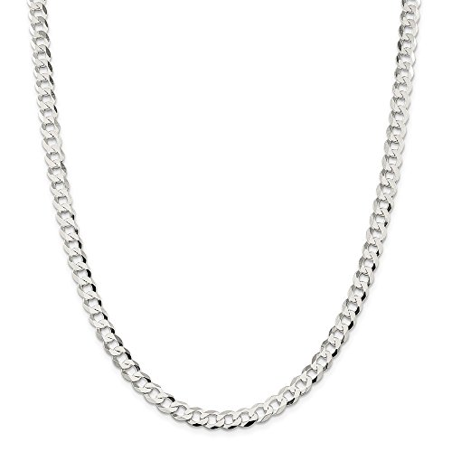 Sterling Silver 6.8mm Close Link Flat Curb Chain by JOlivers