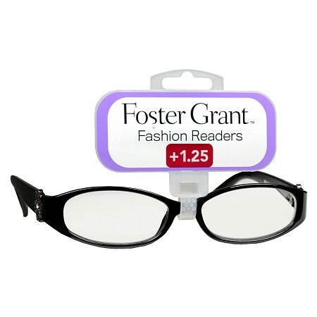Foster Grant ISLA Women's Black Oval Reading Glasses +1.25 b
