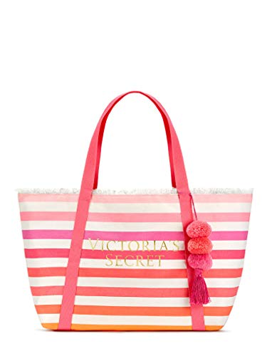 Victoria's Secret 2018 Large Canvas Striped Tote Bag with Pom Pom Pink, Beach, Sherbet Color