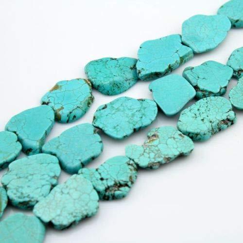 - FidgetFidget Turquoise Flat Slab Nugget Freeform Loose Beads 25x30-30x38mm 9pcs-11pcs 15inch