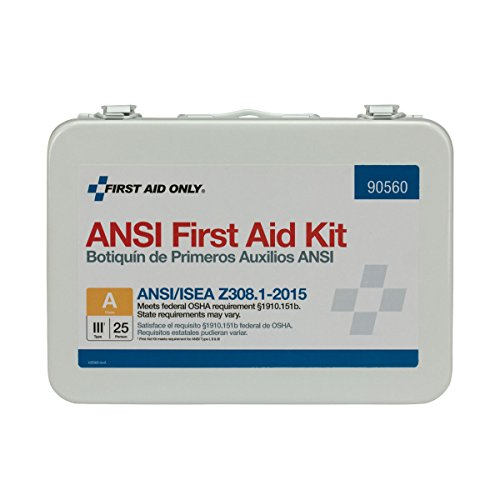 First Aid Only 90560 ANSI 2015 Compliant 25 Person Bulk Class A, First Aid Kit, Metal, Weatherproof (Metal People)