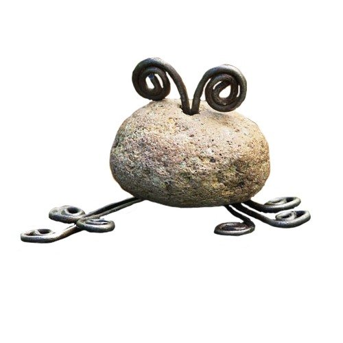 Ancient Graffiti Critters Mini Frog Natural River Stone with Wire