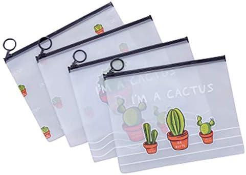 Productos de almacenamiento doméstico 4 unids Patrón de Cactus Estuche de Lápiz Pequeño Fresco Transparente Congelado Anillo de Cactus Bolsa de Almacenamiento Bolsa Sellada Estuche de Lápices de Estud: Amazon.es: Hogar
