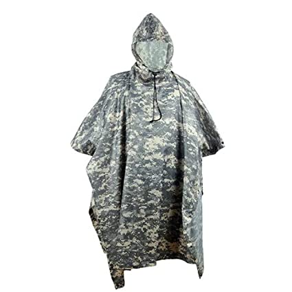 d343792c42538 HYOUT Lightweight Military Camo Hooded Rain Poncho,Waterproof PU Camouflage Ripstop  Rain Poncho Coat for