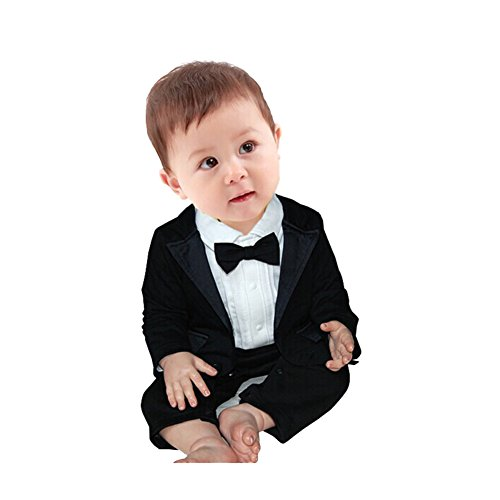 FEESHOW Baby Boy's 2Pcs Gentleman Wedding Formal Tuxedo Suit Romer Outfit Set Size 12-18 Months,Black White