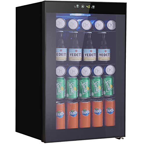 Beverage Refrigerator and Cooler - Drink Fridge with Glass Door for Soda, Beer or Wine - Small Beverage Center with 5 Removable Shelves for Office/Man Cave/Basements/Home Bar (2.9 Cu. Ft.)
