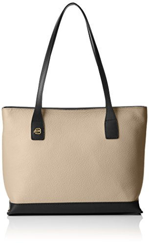 Piquadro Shopping Bag Collezione Antilias Borsa a spalla, Pelle, Beige, 30 cm