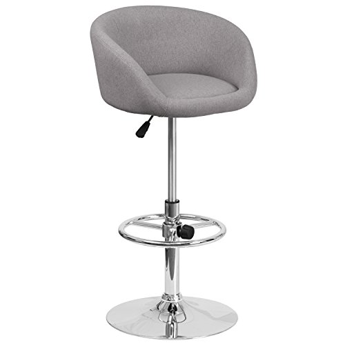 (Flash Furniture Contemporary Gray Fabric Adjustable Height Barstool with Chrome Base)