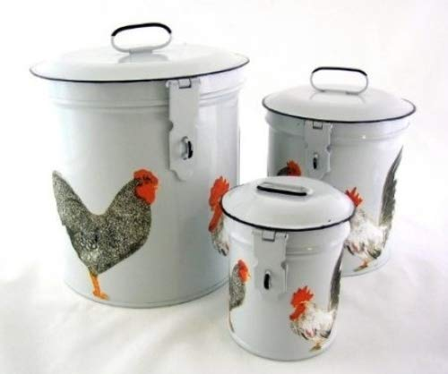 French Country Enamel Canister Set Kitchen Storage Canisters White Retro Enamel with Vintage French Roosters