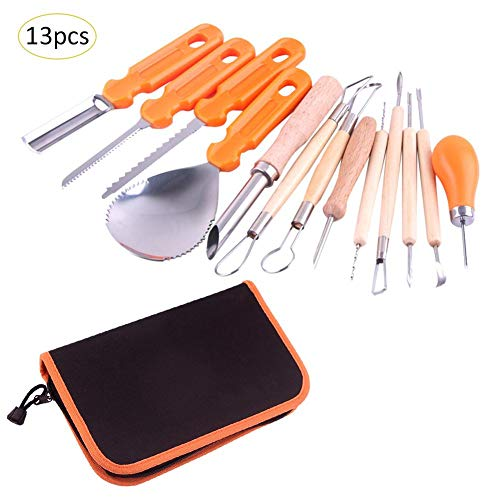 LianLe 13 pcs Halloween Pumpkin Carving Kit with Storage Case, Melon Fruit Kitchen Carving Cutter for Pumpkin Lamp Decoration, Halloween Carving -