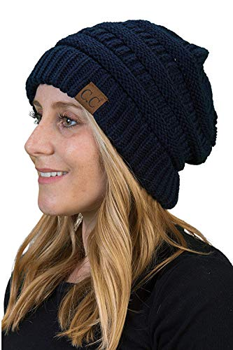 H-6020a-31 Funky Junque Solid Ribbed Beanie - Navy ()