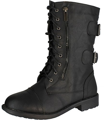 TOP Moda Women's Pack-72 Lace Up Combat Boot (8 B(M) US, - Lace Biker Boots Leather Up