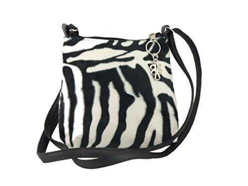 Loni Womens Trendy Animal Print Faux Fur Shoulder Bag/Cross-Body Bag in Zebra Small