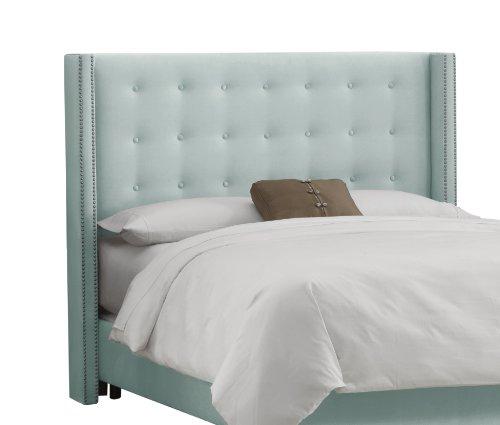 Skyline Furniture Nail Button Tufted Wingback Queen Headboard in Velvet Pool - Upholstered Headboard Velvet Pool