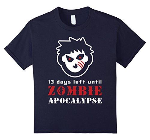 Kids 13 Days Left Until Zombie Apocalypse TShirt | Halloween Gift 12 Navy (Days Left Until Halloween)