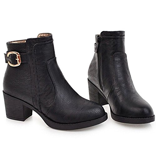 Ankle Booties Black TAOFFEN Heel High Women Block Winter Comfortable Autumn 1275 6CRwq0a